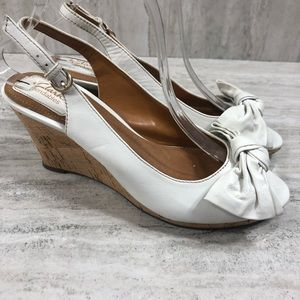 Clark's Bendables White Cork Wedge With Bow